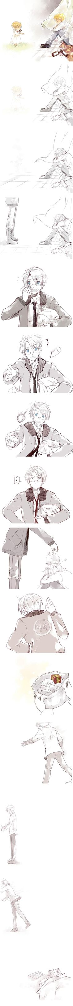 Arthur's feeling down and reminiscing about the past (again) when Alfred shows up.... - Art by Saiyki