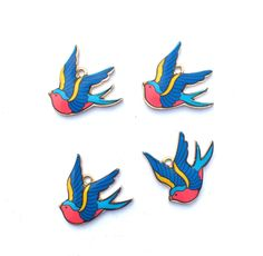 Blue and Red Swallow Bird Charms Swallow Tattoo Charms Rockabilly Charms 4…