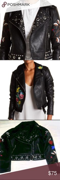 Romeo & Juliet Couture leather Moto Jacket Floral and Grommet riveting style vegan leather Moto jacket by Romeo & Juliet Couture. Perfect for Fall and all your fashion needs! Size Large but perfect for the draping over shoulders look. NWT Romeo & Juliet Couture Jackets & Coats