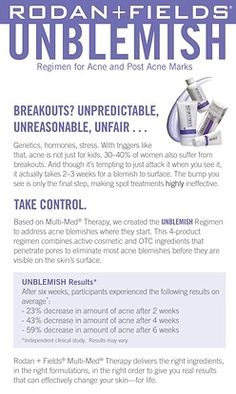 #rfskintervention #unblemish #beautifulskin Rodan + Fields Dermatologists https://LisasSkinCare.myrandf.com/Shop/Unblemish