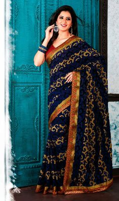 Navy Blue Embroidered Net Saree.