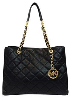 63101e455182a3 Michael Kors Susannah Quilted Leather Large Black Tote Bag. Get one of the  hottest styles