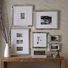 Mirror Gallery Frames- I love this idea for over the desk with family photos in them and then we can move the botanical pictures to the wall next to the dresser and hang them vertically...and add 2 more.