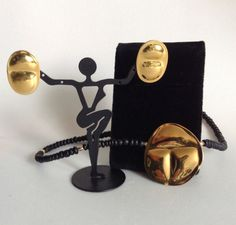 Carlton Ridge for Sutton Hoo Scarab Necklace / Earrings Gold Plated Brass SIgned #SuttonHoo