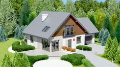 Wizualizacja Dom przy Cyprysowej 4 CE Minimal House Design, Minimal Home, Carriage House Plans, Attic House, Attic Design, House Of Cards, Home Fashion, Exterior Design, Future House