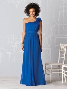 A-line One Shoulder Blue Chiffon Handmade Flower Floor-length Bridesmaid Dress
