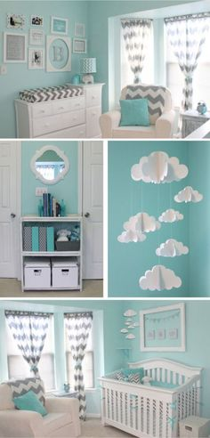 This cloud nursery theme is wonderfully simple to recreate—complete with chevron decorations and an aqua, grey, and white color scheme. This adorable mobile above their crib may just be our favorite thing!