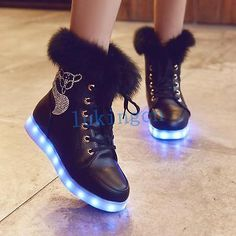 Womens Mid Calf LED Light Up Shoes Winter Snow High Top Boots Flat Heel Sneakers