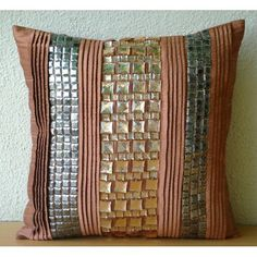 Crystalline - Throw Pillow Covers - 18x18 Inches Silk Pillow Cover with Pin Tucks and Crystals