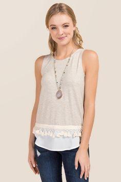 Heather Oat Danya Tassel Knit Layered Tank |                                              francesca's