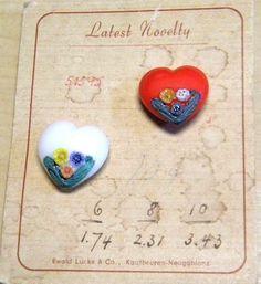 salesman's sample heart buttons