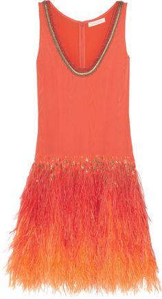 Matthew Williamson Feather-embellished silk-moire dress on shopstyle.com.au