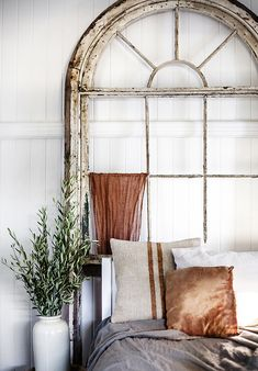 Rustic Bohemian Interior Design in a Bedroom by Kara Rosenlund with salvaged vintage arch window and burnt orange accents. Sweet Home, Interior And Exterior, Interior Design, White Decor, Beautiful Bedrooms, Scandinavian Style, Interior Inspiration, Design Inspiration, Bedroom Inspiration