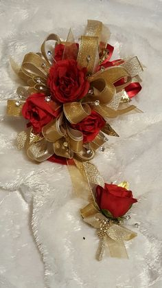 Burgundy orchid and gold rose prom corsage and boutonniere set from hen house designs full service silk florist in denham springs la can assist you with wedding flowers or any occasion or event mightylinksfo
