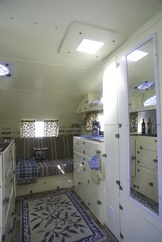 1935 camper, love the blue and white!