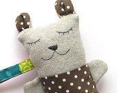 Brown sweet doudou, newborn rattle sleepy plushie saccottino bear. Kids toys, sweet companion. Baby toddler gift idea.