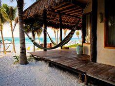 Ahau Tulum beach side cabanas. Tulum, Mexico.