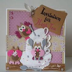 Invitation for high tea http://chantalcrea.blogspot.nl/2016/03/invitation-for-high-tea.html #mariannedesign #elinepellinkhof #diecutting #card #cardmaking #papercraft #kaart #kaartenmaken #kaarten #handgemaakt #handmade #handmadewithlove #diy #handmade #craft #handmadecards #cute #lief #funny #grappig #schattig #tea #teatime #hightea #owl #uil #uitnodiging #invatation