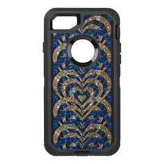 #gold - #Blue & Gold Glitter Spiral Vortex Hearts - OtterBox Defender iPhone 7 Case