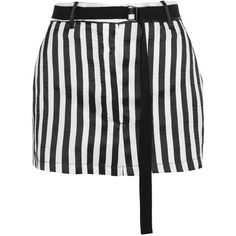 Ann Demeulemeester Striped satin-twill mini skirt (980 CAD) ❤ liked on Polyvore featuring skirts, mini skirts, black, twill mini skirt, satin skirt, mini skirt, twill skirt and short skirts