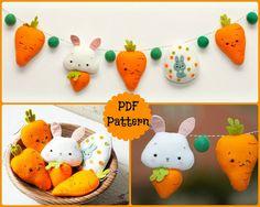 PDF. Guirlande de Pâques. Lapin carottes et oeuf de Pâques. by Noialand | Etsy