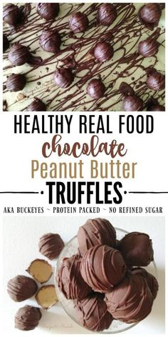 Healthy Real Food Chocolate Peanut Butter Truffles are a fun protein-packed festive treat for the holidays - with better ingredients than Buckeyes or Peanut Butter Balls.Perfect for Easter Halloween & Christmas! Paleo Dessert, Healthy Dessert Recipes, Real Food Recipes, Delicious Desserts, Healthy Sweets, Candy Recipes, Peanut Butter Truffles, Peanut Butter Desserts, Chocolate Peanut Butter