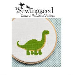 INSTANT DOWNLOAD Easy Dinosaur Cross Stitch Pattern by Sewingseed, $5.00