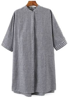 Vertical Stripe Single-Breasted Shirt Dress