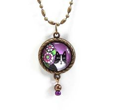 Tuxedo Cat and Garden Flowers Pendant  by SusanFayePetProjects, $18.00