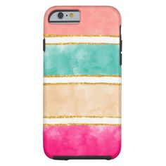 Modern Stripes Pink Red Watercolor Gold Glitter Tough iPhone 6 Case
