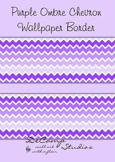 Purple Ombre Chevron Wallpaper Border Wall Decals For Baby Girl Nursery Or  Childrenu0027s Room Decor.