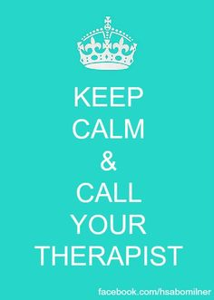 'Keep Calm & Call Your Therapist' represents how in the book 'Winter Girls' Leah's considered a danger to herself so she has to go see a therapist to try to help her with her 'disorder' only she doesnt see it that way.