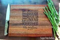 Custom Cutting Board Engraved Wood Family Sign by SugarTreeGallery