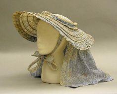Mid 19th century sun bonnet, cotton steel. The MET