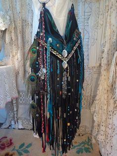 Custom Order for Brenda Black Leather Fringe Shoulder Bag Boho Tribal tmyers #Handmade #ShoulderBag