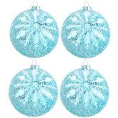 Ice Blue Snowflake Glitter Ball Ornaments