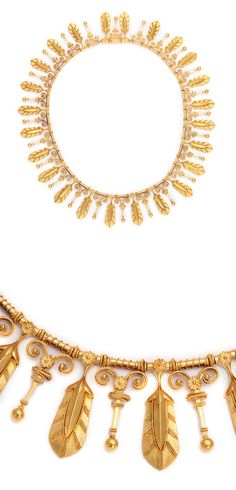 Etruscan Revival gold fringe necklace with palmettes, alternating with floral motifs, by Eugène Fontenay (1823-1887).  The third generation of a family of jewelers known for their exquisite craftsmanship, he found inspiration in the antique.    French, ca. 1885