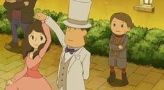 "Professor Layton, Luke, and Emmy in one of the new cutscenes from ""Professor Layton and the Mask of Miracles Plus"" (which is only in Japan unfortunately). I love the characters' outfits In this, especially Luke, he's so adorable!"