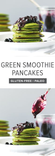 These green smoothie pancakes with macerated blueberries are a delicious healthy breakfast recipe. You won't even taste the spinach! They're also perfect for St. Patrick's Day.