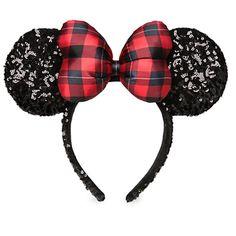 Minnie Mouse Sequined Ear Headband - Holiday Plaid