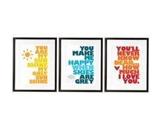 You Are My Sunshine - Set of Three Prints - Designed for IKEA RIBBA frame - 13x19 - Yellow, Blue & Orange via Etsy