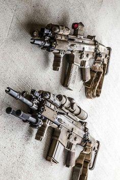 I love these rifles. Top: scar-l. Shoots a Bottom: scar-h. Shoots a Military Weapons, Weapons Guns, Airsoft Guns, Guns And Ammo, Tactical Rifles, Firearms, Shotguns, Armas Airsoft, Survival