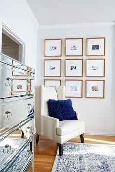 I like the small image with large matting in a grid pattern - this might be good for our hallway