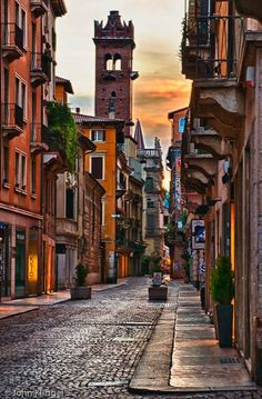 Beautiful Streets of Verona.in Italy