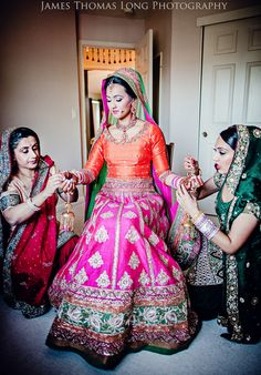 Lehengas / Half Sarees, Indian wedding outfit, Colorful lehenga