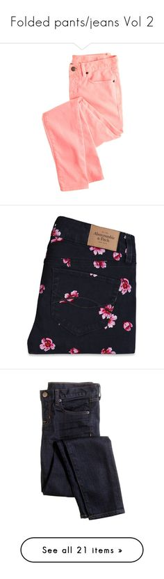 """""""Folded pants/jeans Vol 2"""" by curvygirlamy ❤ liked on Polyvore featuring jeans, pants, bottoms, pantalones, slim fit skinny jeans, j crew jeans, slim fit jeans, stretchy skinny jeans, red jeans and trousers"""
