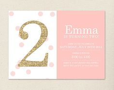 Pink and Gold Invitation // Polka Dot Party // Pink and Gold Party // Pink and Gold First Birthday // DIY Printables