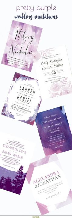 Set the tone for your perfect wedding day with pretty purple wedding invitations from Minted.