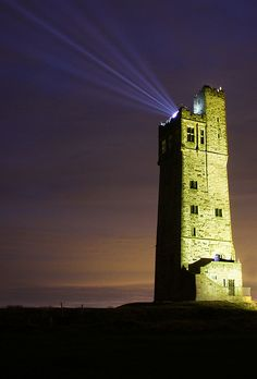 The Tower lit up at Castle Hill, Huddersfield by Adrian S Jones Huddersfield Yorkshire, Huddersfield Town, Tower Light, Victorian Architecture, West Yorkshire, Tower Bridge, Willis Tower, Street Photography, Places To Go