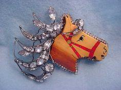 Vrba Dramatic Sculpture Horse Head Pin